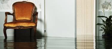 Elementarversicherung: Sessel steht im überfluteten Wohnzimmer