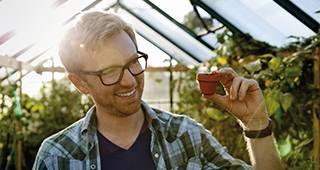 Betriebsrentenversicherung: Mann hält einen kleinen Blumentopf